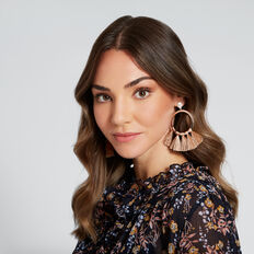 Large Tassel Hoop Earrings  ROSE GOLD/ BLUSH  hi-res
