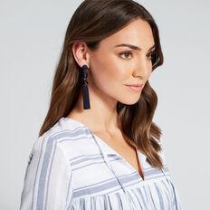 Ball Tassel Earrings  NAVY/GOLD  hi-res