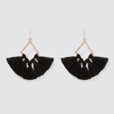 Diamond Tassel Earrings  GOLD/BLACK  hi-res