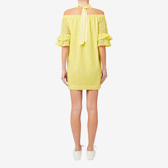 Halter Neck Broderie Dress  SUN YELLOW  hi-res
