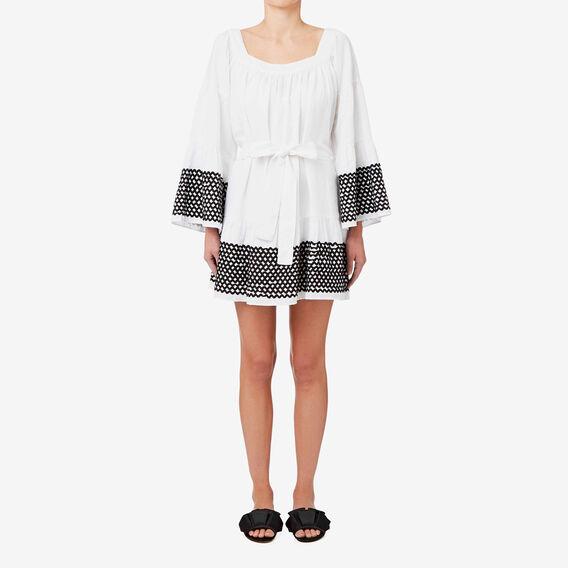 Flared Sleeve Rickrack Dress  BRIGHT WHITE  hi-res