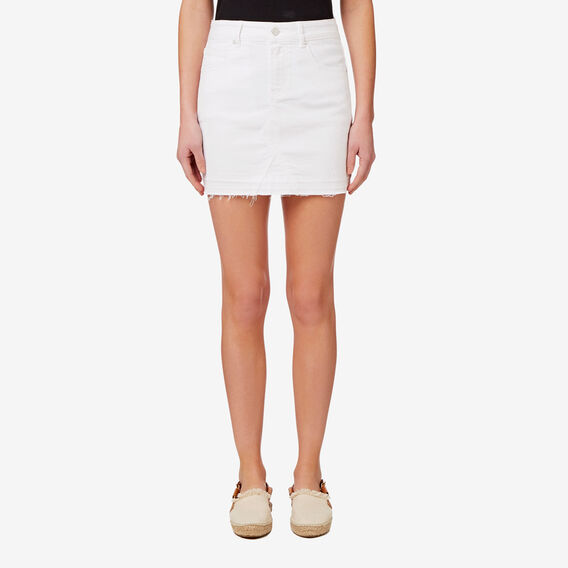 Frayed Denim Mini Skirt  BRIGHT WHITE  hi-res