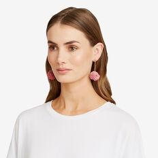 Ruffle Pom Pom Earrings  SOFT BLUSH  hi-res