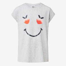 Peach Smiley Tee  SPECKLE MARLE  hi-res