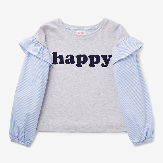 Happy Stripe Sleeve Tee  CLOUD  hi-res