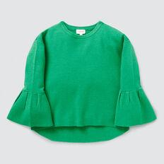 Frill Sleeve Rib Sweater  APPLE GREEN  hi-res