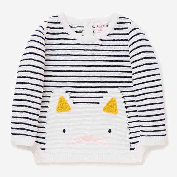 Stripe Kitty Sweater  NAVY  hi-res