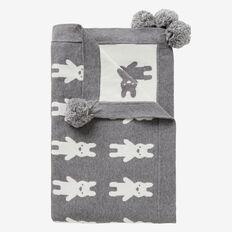 Bunny Yardage Knit Blanket  SLATE MARLE  hi-res