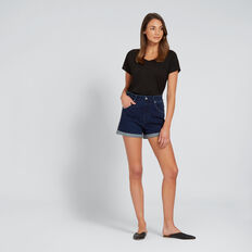 High Waist Denim Short  DEEPEST BLUE WASH  hi-res