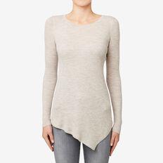 Rib Asymmetrical Sweater  TAUPE MARLE  hi-res