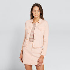 Frayed-Hem Denim Jacket  PEONY PINK  hi-res