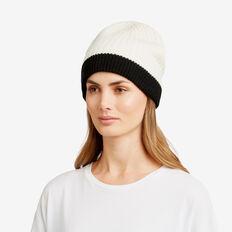 Reversible Rib Knit Beanie  BLACK/ BONE  hi-res