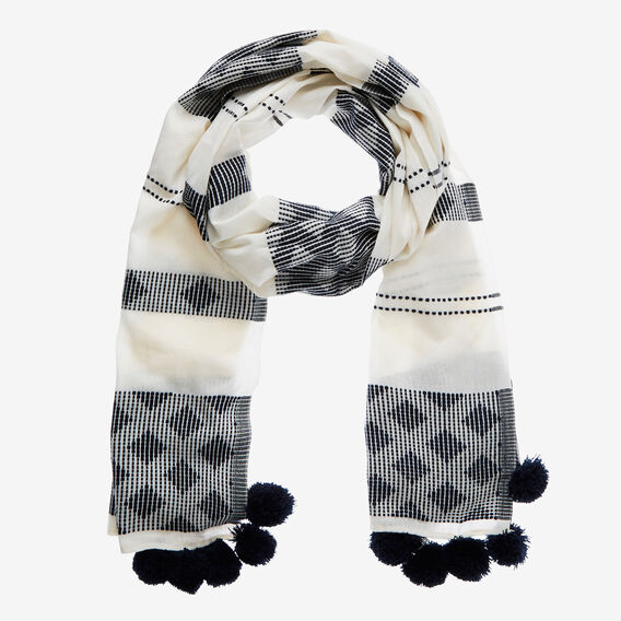 Diamond Stitch Scarf  WHITE/INK  hi-res
