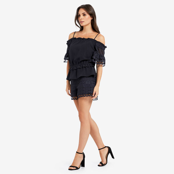 Off Shoulder Frill Top  DEEP NAVY  hi-res