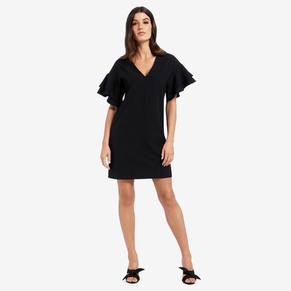 Frill Sleeve Shift Dress  BLACK  hi-res
