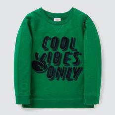 Chenille Applique Sweater  LIZARD GREEN  hi-res