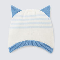 Knit Ear Stripe Beanie  NIAGARA BLUE  hi-res