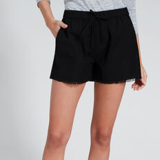 Casual Fray Hem Short  BLACK  hi-res