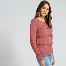 Pom Pom Knit Top  DUSTY ROSE  hi-res
