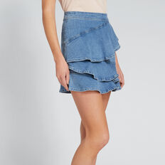 Asymmetric Denim Skirt  CLASSIC DENIM  hi-res