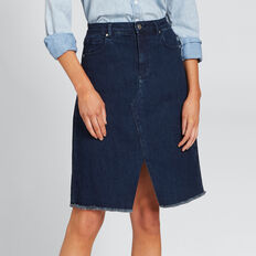 Longline Denim Skirt  DEEPEST BLUE WASH  hi-res