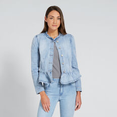Frill Detail Denim Jacket  PASTEL DENIM WASH  hi-res