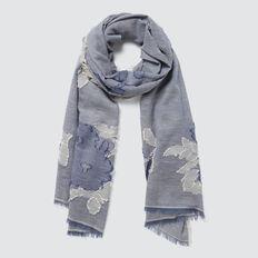 Floral Print Scarf  STONE BLUE  hi-res