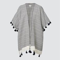 Stripe Tassel Poncho  CREAM/ NAVY  hi-res