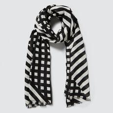 Check Stripe Scarf  BLACK/CLOUD CREAM  hi-res