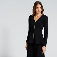Zip Peplum Cardigan  BLACK  hi-res