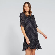 Gathered Sleeve Dress  MINI DOBBY  hi-res