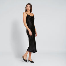 Satin Slip Dress  BLACK  hi-res