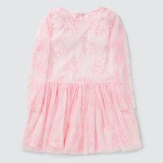 Embroidered Unicorn Dress  ICE PINK  hi-res