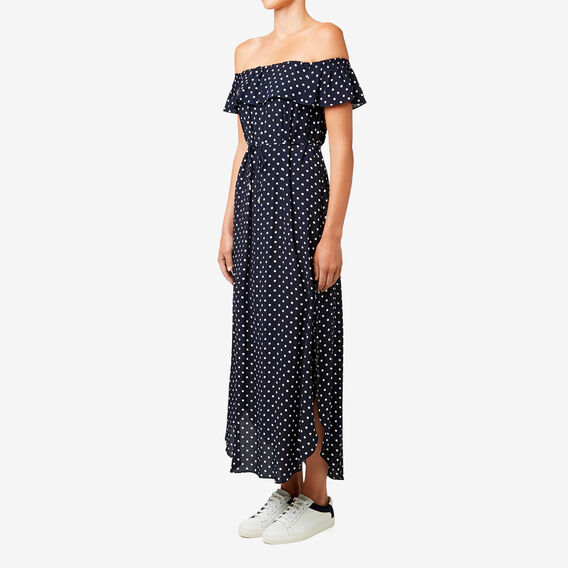 Off Shoulder Spot Dress  DEEP NAVY SPOT  hi-res