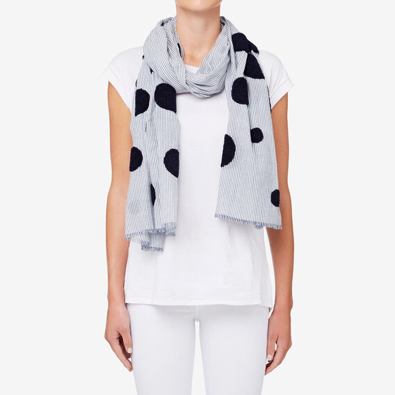Embroidered Spot Scarf  NAVY/WHITE  hi-res