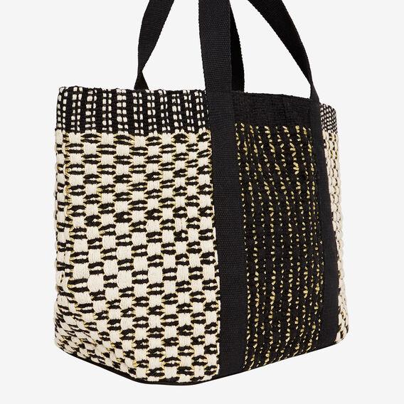 Textured Weave Tote  BLACK/ CREAM/ GOLD  hi-res