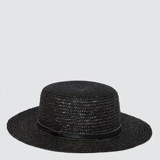 Straw Boater  BLACK  hi-res