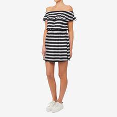 Shirred Waist Dress  BLACK/WHITE STRIPE  hi-res