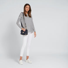Slouchy Stripe Top  WHITE MARLE/NAVY  hi-res