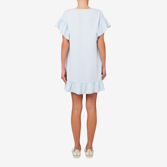 Tencel Lace Up Dress  SKY BLUE DENIM  hi-res