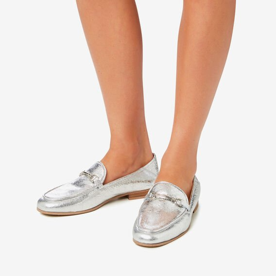 Valentina Metallic Loafer  SILVER  hi-res