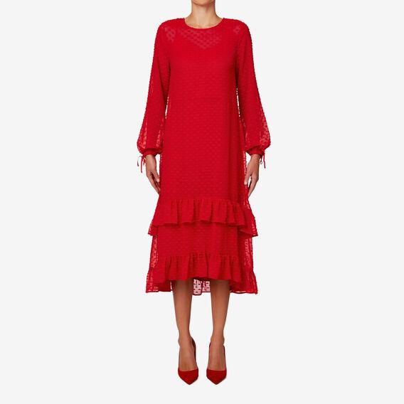 Dobby Midi Dress  BOLD RED  hi-res