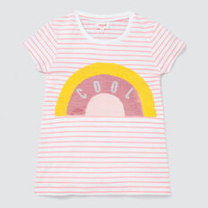 Rainbow Sequin Tee  MUSK PINK/WHITE  hi-res