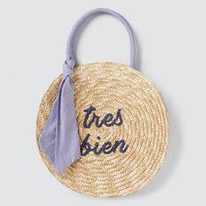 Round Woven Basket  NAVY  hi-res