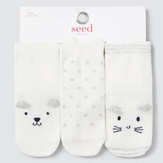 3 Pack Animal Faces Socks  VANILLA  hi-res