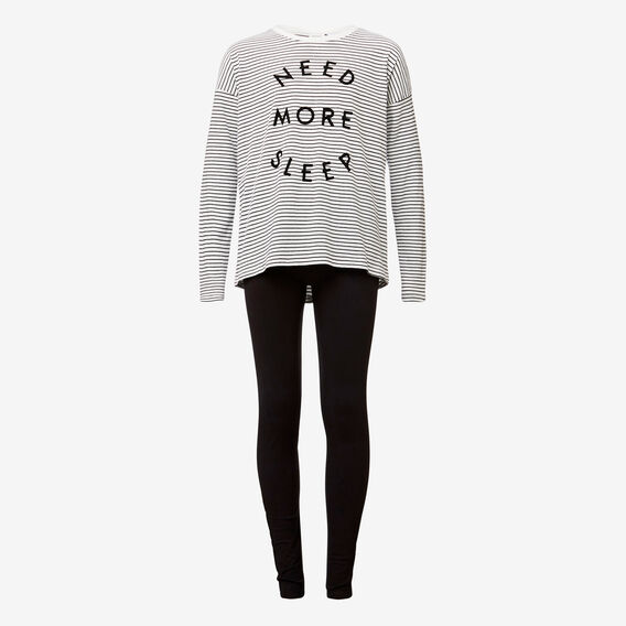 Sleep Slogan Pyjama  BLACK/CANVAS  hi-res