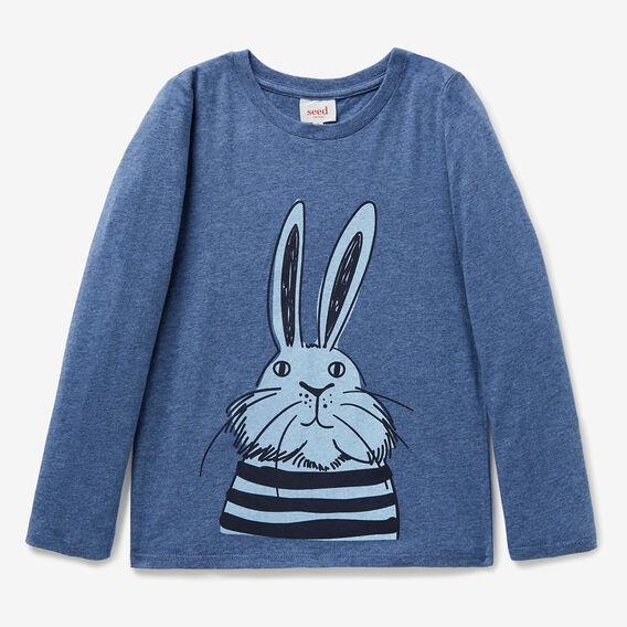 Stripey Bunny Tee  BLUE BEAR MARLE  hi-res