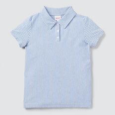 Stripe Pique Polo  CORNFLOWER BLUE  hi-res