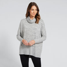 Cosy Cowl Neck Top  MID GREY MARLE  hi-res