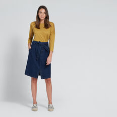 Drill Denim Skirt  DEEPEST BLUE WASH  hi-res